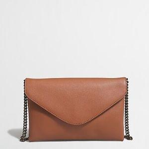 J Crew Chain strap leather envelope clutch purse